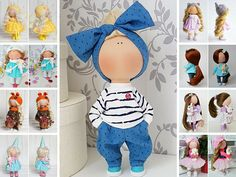 Fabric doll Tilda doll Nursery doll Puppen Interior doll Textile doll Poupée Handmade doll Bonita Blue doll Cloth doll Bambole by Tanya E