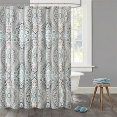 Echo DesignTM Sterling Cotton Sateen Printed Shower Curtain