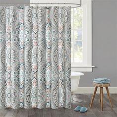 Echo DesignTM Sterling Cotton Sateen Printed Shower Curtain