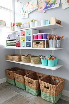 Love this wall of art supplies! So organized and pretty. Perfect for your kids' playroom. Love this wall of art supplies! So organized and pretty. Perfect for your kids' playroom. Kids Art Space, Kids Art Area, Kids Art Rooms, Art For Kids, Playroom Organization, Playroom Ideas, Organizing Art Supplies, Organising, Organization Ideas