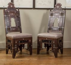 Pair of Moroccan North African Chairs | From a unique collection of antique and modern side chairs at https://www.1stdibs.com/furniture/seating/side-chairs/