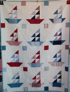 Dreamy Americana Sailboat Quilt by Dreamy Vintage Sheets on Etsy. $155.00, via Etsy.