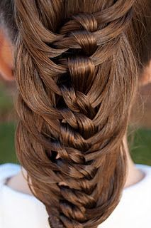 tons of great hairstylist for little girls! This knotted braid looks so cool for big girls too!