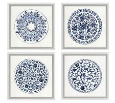 Intricate patterns in blue and white evoke porcelain plates in this watercolor artwork. Giclee reproduction on paper is designed in a Pine frame with a matte white edge. D-ring mounting. Sold as a set of four or sold individually. Framed Prints, Art Prints, Blue Prints, Blue Tapestry, Shabby, Mirror Art, Watercolor Artwork, Watercolor Print, Blue Walls