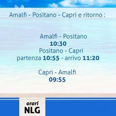Rettifica degli orari per la tratta Amalfi-Positano-Capri, per ulteriori informazioni vi consigliamo di visionare il nostro sito http://www.navlib.it/ita/index.asp . Buon viaggio con Navigazione Libera del Golfo!