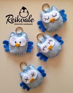 ~Porta-chave mocho... Cute felt owls