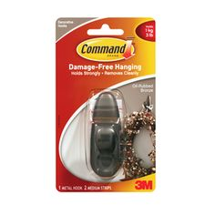 Command Zinc Alloy Adhesive Hook- oil rubbed bronze