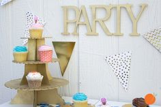 How cute are these DIY cupcake stands?!? Spray paint them, add some glitter, stain them. Perfect for showers, parties, weddings etc.