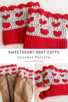 Boot cuffs are some of the best easy beginner crochet patterns because they're small and easy to get a handle on. These are great for valentines day. Crochet Baby Boots, Love Crochet, Crochet Flowers, Knit Crochet, Crotchet, Crochet Crafts, Yarn Crafts, Easy Beginner Crochet Patterns, Easy Crochet Stitches