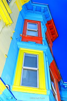 Colorful Windows On Victorian House In Hayes Valley, San Francisco  www.mitchellfunk.com