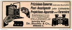 Original-Werbung/ Anzeige 1913 - CAMERAS / ANASTIGMATE / PROJEKTION / FERNROHRE / DR.STAEBLE MÜNCHEN - ca. 140 x 55 mm