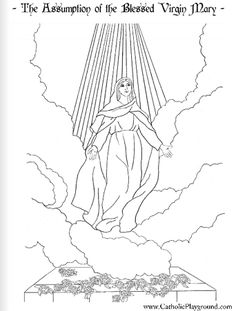 Assumption of Mary Coloring page Coloriage Assomption Catholic