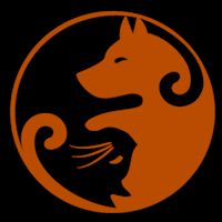 Dog and Cat Yin Yang - Pumpkin Pattern
