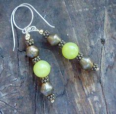Yellow Serpentine & African Brass Earrings by allthingsbarbara, $24.00