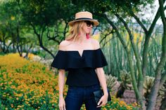 """♥ Off The Shoulder Top, Flare Jeans, Boater Hat & Tassel Earrings {click """"VISIT"""" to shop this look on WithLoveAndStyle.com}"""