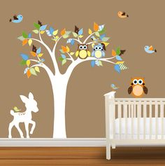 Childrens Tree Decal Nursery Wall Stickers Colorful Plaid Tree Owl Wall Decal Deer on Etsy, $99.99
