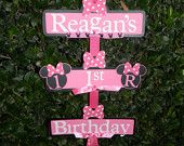 Minnie Mouse Party Sign Zebra Print/Hot Pink by YourPartyShoppe