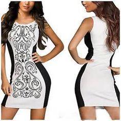 Cadeia branco Impresso em torno do pescoço Bodycon Vestido Casual - Yahoo resultados de pesquisa de imagens
