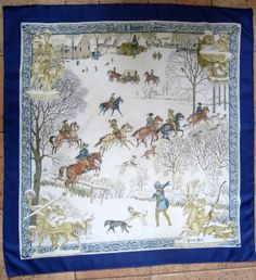 """Hermes 35"""" silk scarf """"L'Hivier"""" by Philippe Ledoux, this is the 1st issue of 1968 in blue colourway which is considered scarce"""