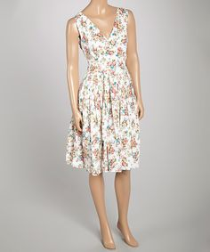 Love this Pink Ditsy Floral Surplice Dress by Aryeh on #zulily! #zulilyfinds