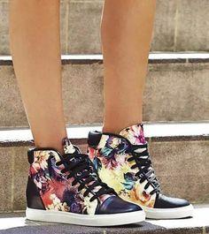Black Floral Sneakers, Miu Miu Ballet Flats, Wedges, Shoes, Black, Fashion, Moda, Zapatos, Shoes Outlet