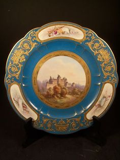 Antique Sevres Porcelain Hand Painted Plate of Chateau Cadillac Signed
