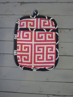 Caught Ya Lookin'- Pink and Navy Pot Holder