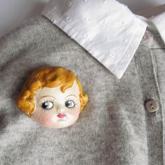 Antique Doll Brooch Dottie's Doll Face Pin Thelma by DottieDollie