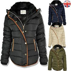 db81d23958 Womens ladies quilted winter coat puffer fur collar hooded jacket parka  size new