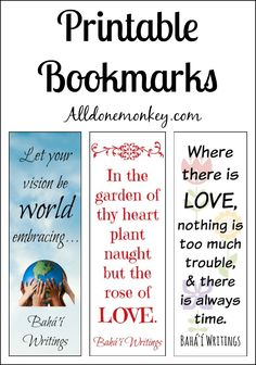 These printable bookmarks with inspirational quotes are perfect as small gifts for friends or in a classroom to celebrate the Baha'i holiday of Ayyam-i-Ha.