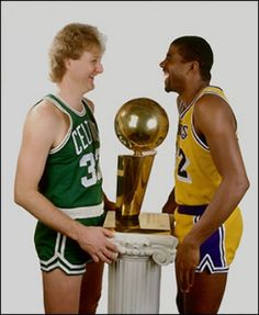 Larry Byrd and Magic Johnson, I love these two. They had major skills but check out those short shorts. Whoa!