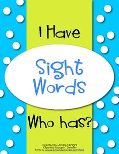 "New Item:  ""I Have...Who Has?"" Game {Sight Words}  This set includes 4 complete games covering 96 sight words in all.  $2.50"