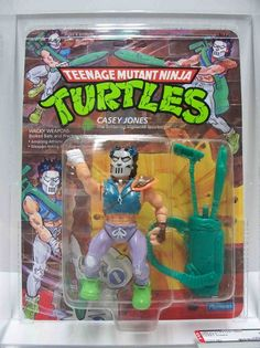 Mint on blister card, this is the original action figure for Casey Jones, an off-kilter vigilante from the Teenage Mutant Ninja Turtles universe
