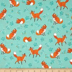 Kaufman Forest Fellow Foxes Nature Fabric By The Yard: Designed by Sea Urchin Studio for Robert Kaufman this fabric is perfect for quilting apparel and home décor accents. Colors include green teal white orange and white. Minky Baby Blanket, Baby Boy Blankets, Pattern Art, Pattern Design, Surface Pattern, Woodland Nursery Bedding, Fox Fabric, Wall Fabric, Flower Outline