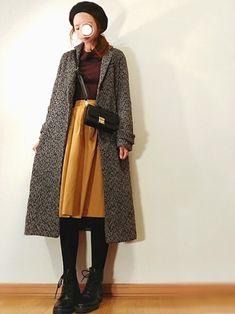少し前にアベイルで500円で購入したブラウンのニット♪ マスタード色のスカートと合わせました。 チ