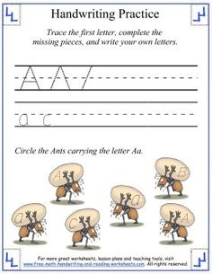 letters Aa handwriting practice