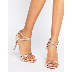 Call It Spring Staval Rose Gold Heeled Strap Sandals ($68) ❤ liked on Polyvore featuring shoes, sandals, gold, gold shoes, gold high heel shoes, call it spring, high heel shoes and metallic sandals