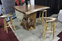 cool wooden tree table with tree bark style seating Log Table, Tree Table, Dining Table, Wooden Tree, Man Room, Tree Bark, Solid Wood Furniture, Made In America, American Made