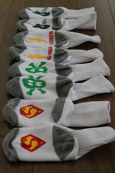 Make your own no slip socks with puff paint...