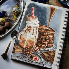 chocolate, pancakes and a drink with whipped cream. Cakes Pastries and Drinks Food Art Drawings. By stepashkina.