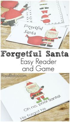 Santa is forgetful (except for names, of course) and needs help ensuring that he doesn't leave the house without his hat...or pants.  Easy reader and game!