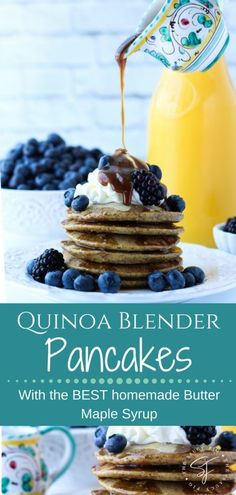 Super easy and yummy these Quinoa Blender Pancakes come together in less than 5 minutes and are full of nutritious goodness! Plus theyre gluten dairy and refined sugar-free! Topped with the BEST homemade butter maple syrup you will ever try! via thesa Waffle Recipes, Brunch Recipes, Pancake Recipes, Fig Recipes, Brunch Ideas, Homemade Maple Syrup, Homemade Butter, Crepes And Waffles, Pancakes Easy