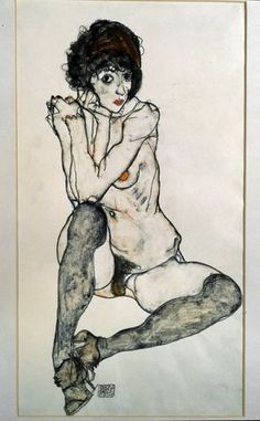 Naked female seated, drawing by Egon Schiele, 1914. [Luisa Ricciarini / Leemage - AFP]