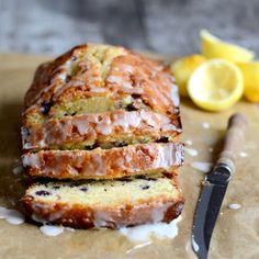 Lemon Blueberry Drizzle Bread - probably the best sweet bread I've ever made. Just Desserts, Delicious Desserts, Yummy Food, Tasty, Slow Cooking, Cooking Recipes, Bread Recipes, Blueberry Bread Recipe, Blueberry Loaf