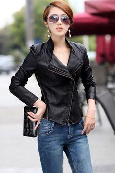 Black Korean Design PU Leather Jacket . Black Korean Design PU Leather Jacket