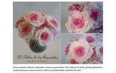 Una preciosura! Para utilizar como toppers de candy kabobs de aniversarios, bodas, cumpleaños. Rosas artesanales en porcelana fria. Bellisimas flores para adornos.