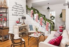 Follow Joanna's lead and shake up the yuletide tradition by hanging stockings on your banister instead of the mantel. We're partial to her candy-cane-striped versions, which add a classic touch with a graphic punch.