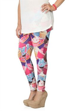 Deb Shops Plus Size Cupcake Print Leggings $10.74