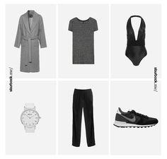 Luxury Look: Schöner Oversize Mantel aus Woll-Mix, Neckholder-Badeanzug ideal auch als Oberteil über der lockeren Stoffhose und der Nike 'Internationalist' in schwarz! Hier entdecken und shoppen: http://sturbock.me/tQC