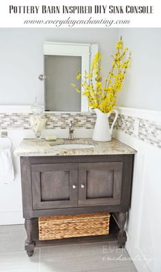 DIY Pottery Barn Inspired Sink Console | Everyday Enchanting